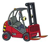 Funny small forklift truck or loader car with eyes royalty free illustration