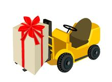 Forklift Truck Loading A Beautiful Gift Boxes Royalty Free Stock Photography