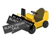 A Forklift Truck Loading Black Friday Card Stock Images