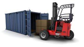 Forklift truck loading a container. 3d render of forklift truck loading a container vector illustration