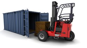 Forklift truck loading a container. 3d render of forklift truck loading a container royalty free illustration