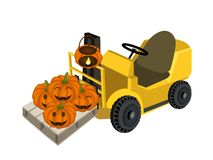 A Forklift Truck Loading A Pile of Jack-o-Lantern Pumpkins Stock Photography