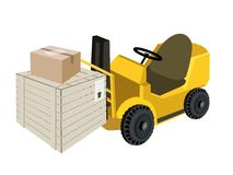 Forklift Truck Loading Shipping Box and Cardboard  Royalty Free Stock Photography