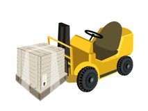 A Forklift Truck Loading A Shipping Box with Plast Royalty Free Stock Photo