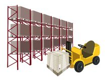 Forklift Truck Loading A Shipping Box in Warehouse Royalty Free Stock Photos