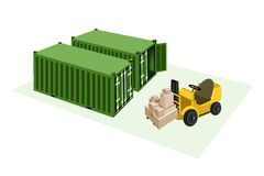 Forklift Truck Loading Shipping Boxes into Freight. Powered Industrial Forklift, Fork Heavy Machine, Fork Truck or Lift Truck Loading A Stack of Sealed Cardboard royalty free illustration