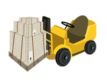 A Forklift Truck Loading Shipping Boxs with Steel  Royalty Free Stock Photo