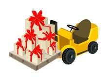 Forklift Truck Loading A Stack of Gift Boxes Stock Images