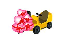 Forklift Truck Loading A Stack of Hearts Stock Images
