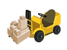 Forklift Truck Loading A Stack of Shipping Box Stock Photos