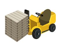 A Forklift Truck Loading Stack of Wood Pallets. Powered Industrial Forklift, Fork Heavy Machine, Fork Truck or Lift Truck Loading A Stack of Shipping Pallets for Stock Photos