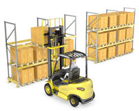 Forklift truck loads pallet on the rack Royalty Free Stock Images