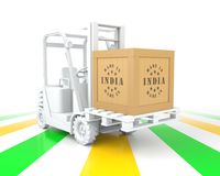 Forklift Truck with Made in India Wooden Box on Pallet. 3D Rendering Royalty Free Stock Images