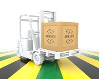 Forklift Truck with Made in Jamaica Wooden Box on Pallet. 3D Rendering Royalty Free Stock Photography