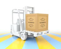 Forklift Truck with Made in Kazakhstan Wooden Box on Pallet. 3D Rendering Royalty Free Stock Images