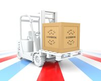 Forklift Truck with Made in Luxembourg Wooden Box on Pallet. 3D Rendering Stock Photos