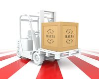 Forklift Truck with Malta Flag Color. Made in Malta. Stock Images