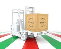 Forklift Truck with Mexico Flag Color. Made in Mexico. Stock Photography
