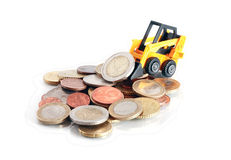 Forklift Truck With Money Royalty Free Stock Photo