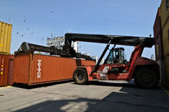 Forklift truck moves containers Stock Photo