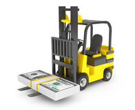 Forklift Truck moves Dollars Royalty Free Stock Images
