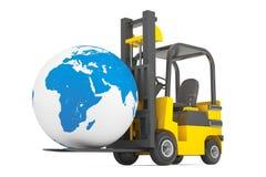 Forklift Truck moves Earth Globe Stock Images