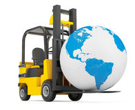Forklift Truck moves Earth Globe Royalty Free Stock Photography