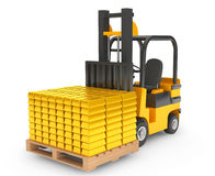 Forklift Truck moves Golden Bars Royalty Free Stock Photography