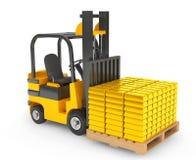 Forklift Truck moves Golden Bars Stock Photo