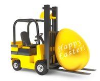 Forklift Truck moves Golden Easter Egg Stock Images