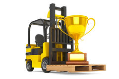 Forklift Truck moves Golden Trophy Royalty Free Stock Photography