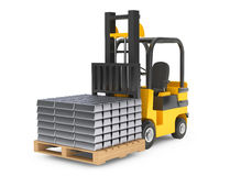 Forklift Truck moves Silver Bars Royalty Free Stock Photos