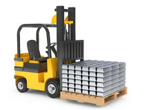 Forklift Truck moves Silver Bars Stock Photography