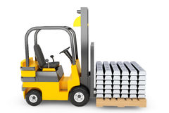 Forklift Truck moves Silver Bars Stock Photos