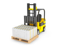 Forklift Truck moves Stacked Dollars Stock Image