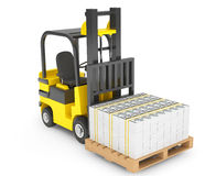 Forklift Truck moves Stacked Dollars Stock Photo