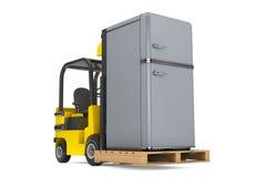 Forklift Truck moves Vintage Refrigerator Stock Photo