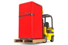 Forklift Truck moves Vintage Refrigerator Royalty Free Stock Image