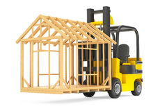 Forklift Truck Moving Frame House Royalty Free Stock Photos