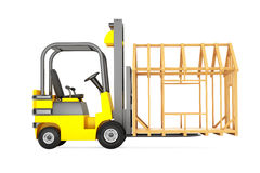 Forklift Truck Moving Frame House Stock Photo
