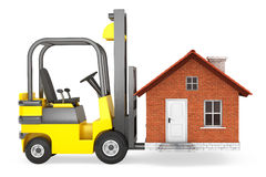 Forklift Truck Moving House Royalty Free Stock Photos