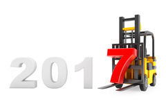 Forklift Truck with 2017 New Year Sign. 3d Rendering. Forklift Truck with 2017 New Year Sign on a white background. 3d Rendering Royalty Free Illustration