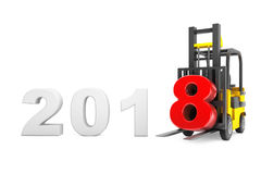 Forklift Truck with 2018 New Year Sign. 3d Rendering. Forklift Truck with 2018 New Year Sign on a white background. 3d Rendering Stock Image