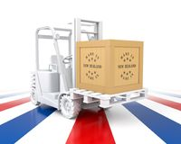 Forklift Truck with New Zealand Flag Color. Made in New Zealand. Stock Photo