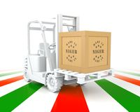 Forklift Truck with Niger Flag Color. Made in Niger. Royalty Free Stock Image
