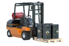 Forklift truck with oil barrels Royalty Free Stock Photography