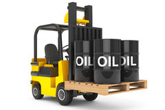 Forklift Truck with Oil Barrels over Pallet Stock Photography