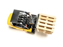 Forklift truck with pallets Royalty Free Stock Photography