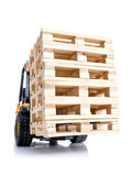 Forklift truck with pallets Royalty Free Stock Photos
