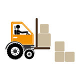 Forklift truck with pictogram driver and boxes Stock Photography